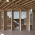 The ceilings are formed of grids of timber joists and beams