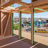Pivoting doors open to create a canopy