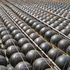Recycled plastic balls and rebars of Cobiaxdeck system prior to pouring concrete